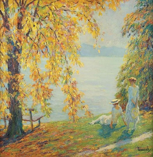 Two Girls In White Beside A Lake In Autumn