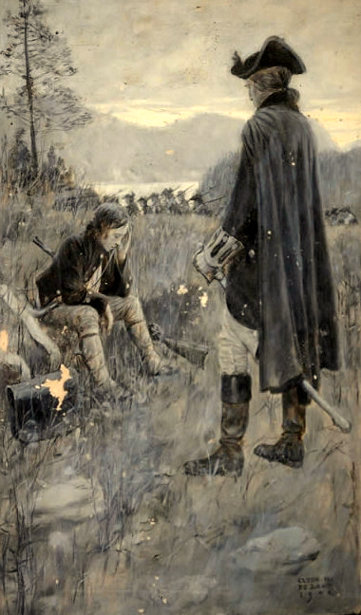Under Colonial Colors - Colonel Benedict Arnold Standing Before A Seated Boy Soldier