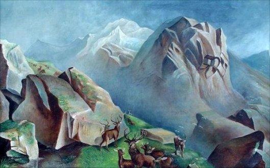 Western Mountain Landscape With Deer
