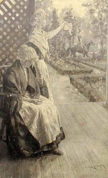 Women Waving Goodbye To Cavalry Soldier