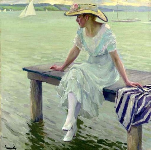 Young Woman On A Pier - Resting On The Dock