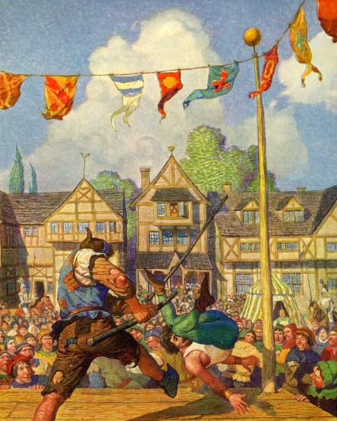 Robin Hood Defeats Nat Of Nottingham At Quarter-Staff