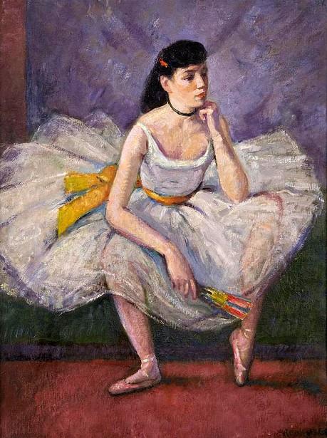 Ballerina Holding A Fan