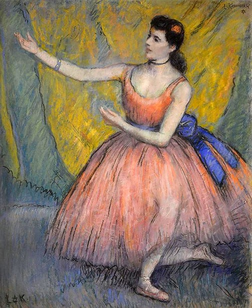 Dancer In A Pink Dress And Blue Bow