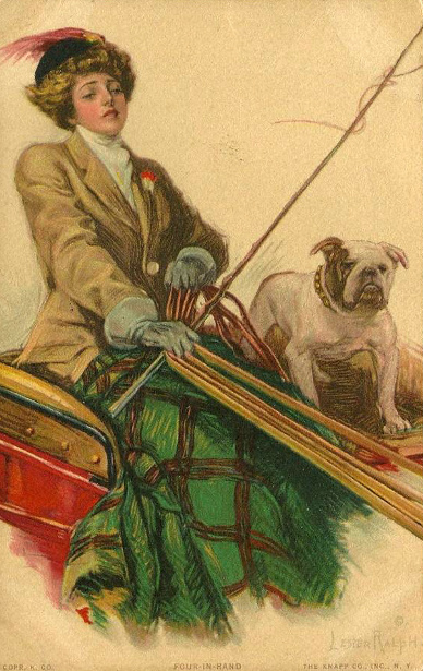 Lady In Carriage With Bulldog