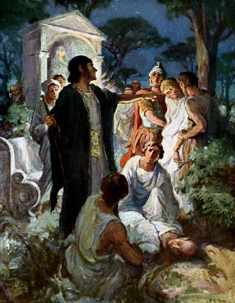 Arbaces accuses Glaucus of the murder of Apaecides