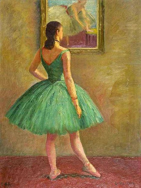 Patricia Atwood In Green Blue Ballet Costume