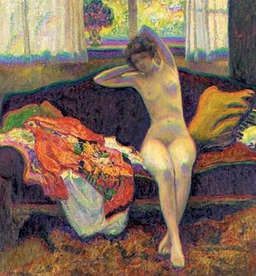 Seated Nude On A Sofa