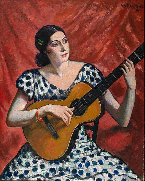 Spanish Woman Playing A Guitar - Souvenir Of Valencia