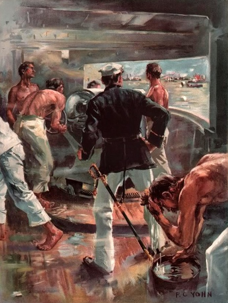 The Battle Of Manila Bay - Fighting A Five-Inch Gun On Board The Olympia