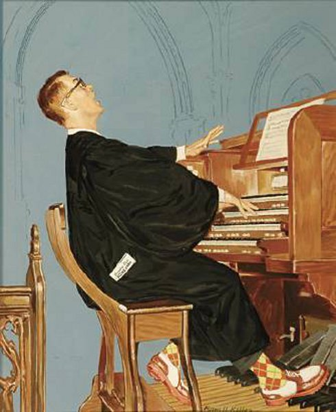 Church Organist Before A Round Of Golf