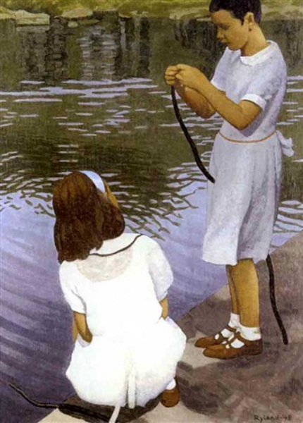 Girls Fishing In A Park
