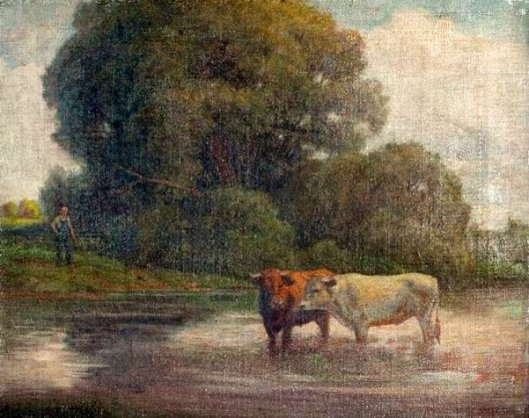 Pastoral Scene With Two Cows In River