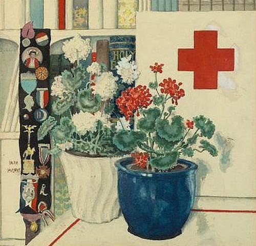 Still Life With Geraniums, Books And Various Medals