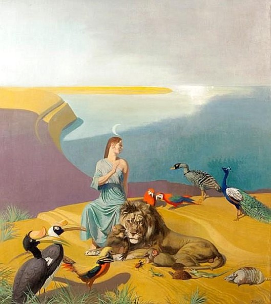 Animal Allegory - Woman With Animals Along The Coast