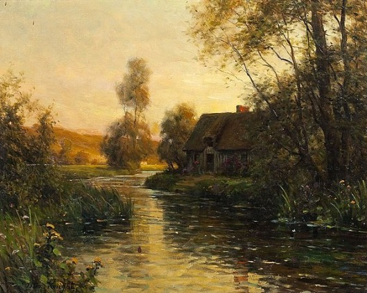Cottage Along A Riverbed In The Twilight