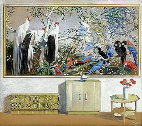 Interior Room With Painting Of Parrots And Exotic Birds