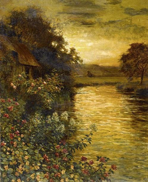 River Bank At Sunset