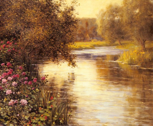 Spring Blossoms Along A Meandering River