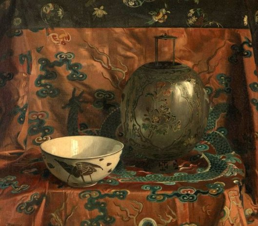Still Life With A Chinese Enamelled Glass Lantern And A Ceramic Bowl