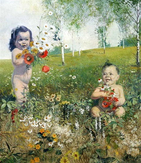 Two Toddlers In A Landscape