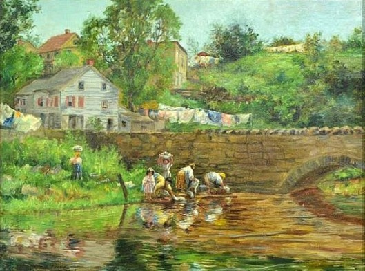 Women Doing Laundry In A Stream