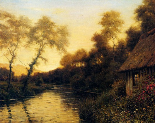 A French River Landscape At Sunset