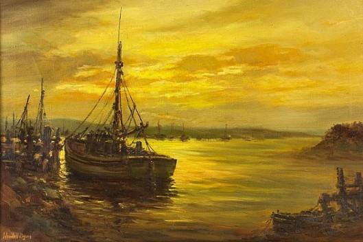 Harbor Scene At Sunset
