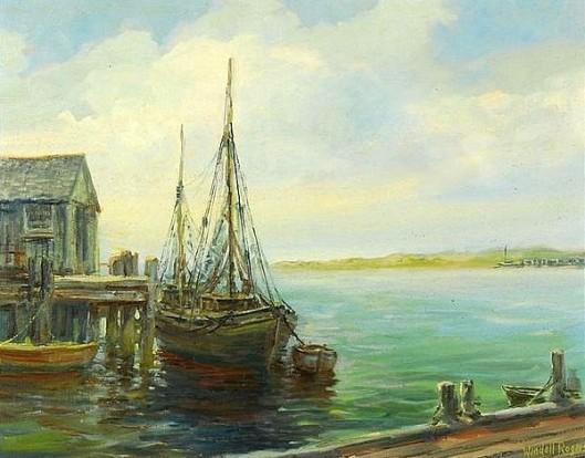 Harbor Scene With Docked Fishing Boats