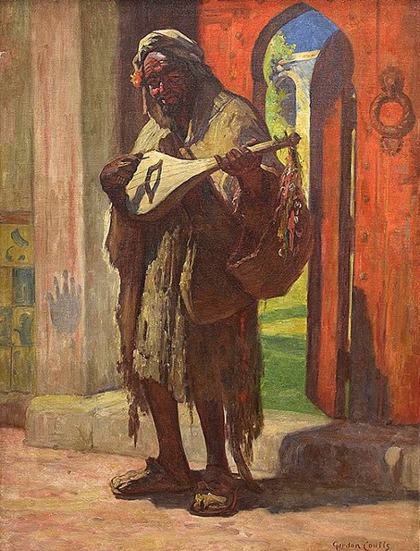 Musician At A Red Doorway