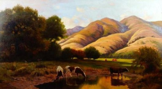 Pastoral Landscape With Cows Drinking
