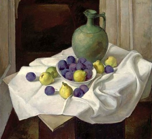 Pears, Plumbs And A Green Jug On A Table