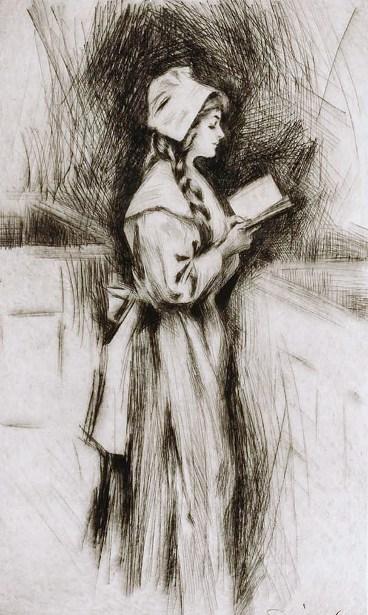 Puritan Girl Reading