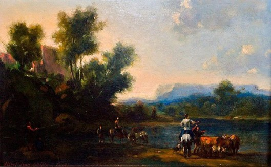 River Landscape With Horsemen And Cattle