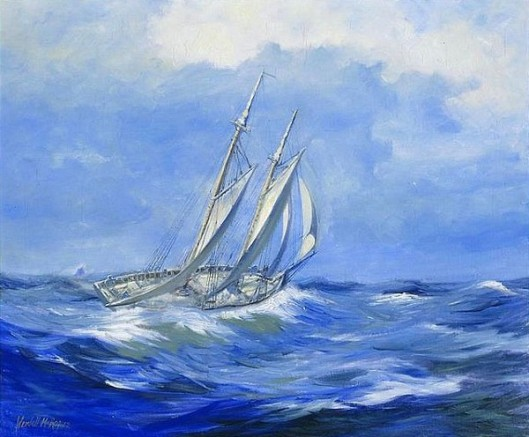 Schooner On Rough Sea