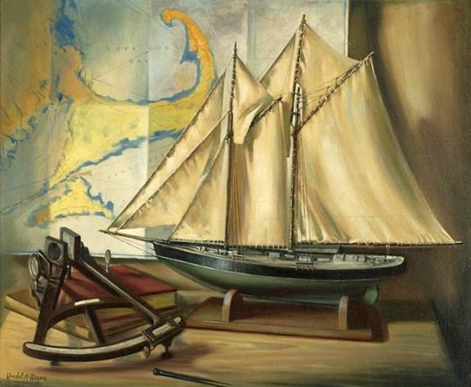 Still Life With A Ship Model, Sextant And A Map Of Cape Cod