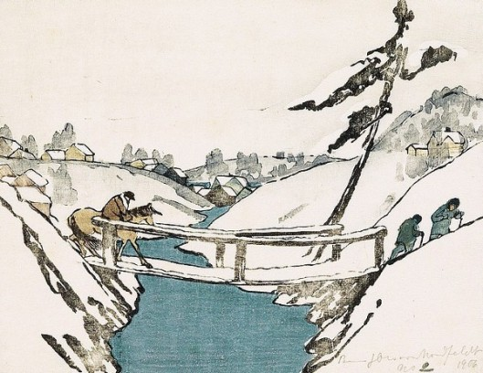 The Bridge - Three Travelers Crossing A Bridge In The Snow