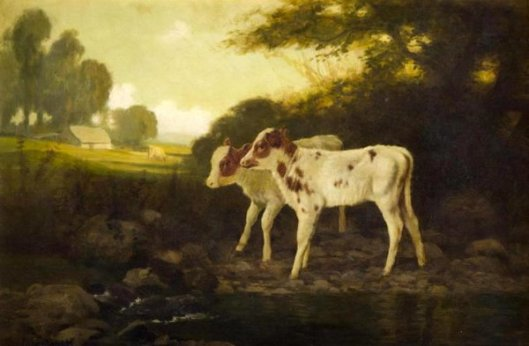 Two Calves By A Stream