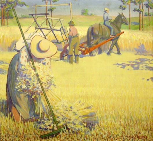 Woman Gathering Grain