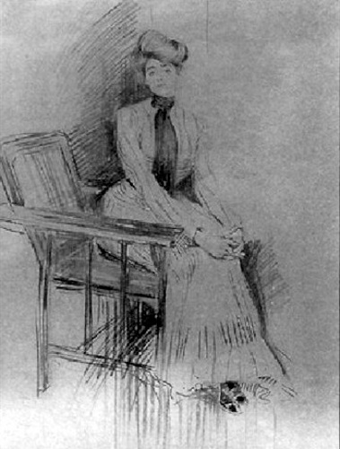 Woman Seated In Occasional Chair