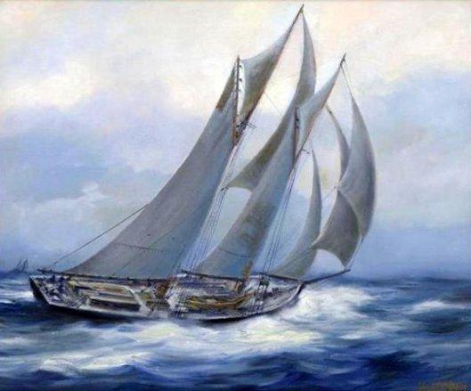 Yacht At Full Sail