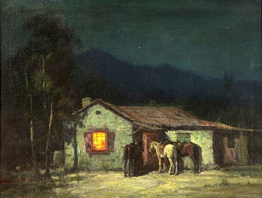 Cowboy Cottage By Moonlight