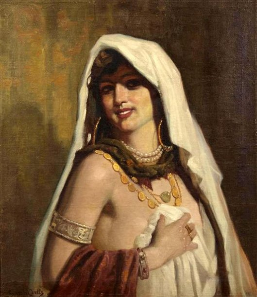 Lady Wearing A White Scarf