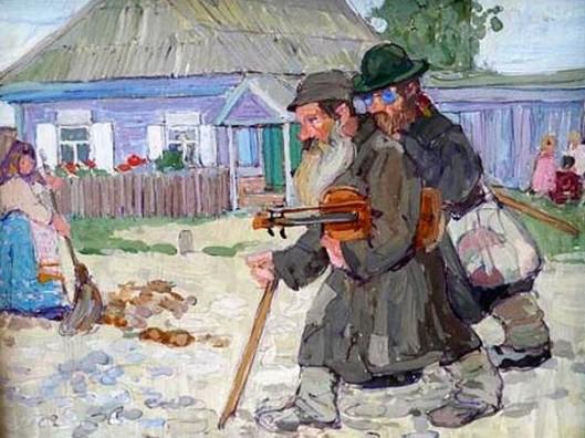 Musicians Crossing A Shtetl