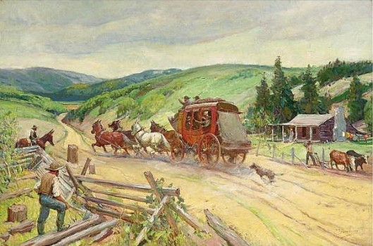 Stagecoach Through The Missouri Hills