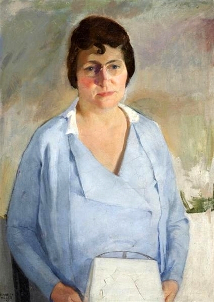 Woman In Blue With White Handbag