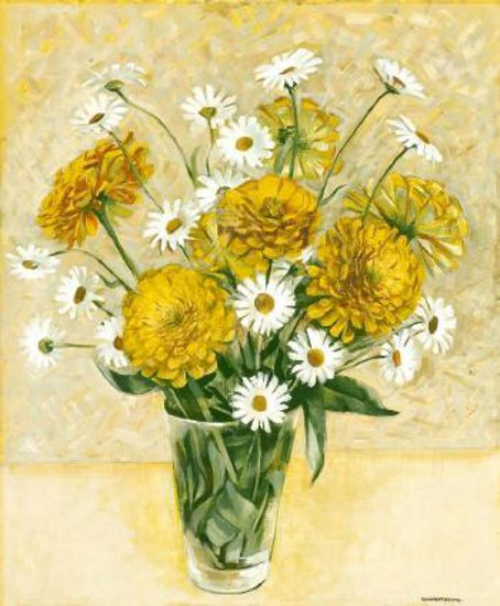 Yellow Zinnias And Shasta Daisies