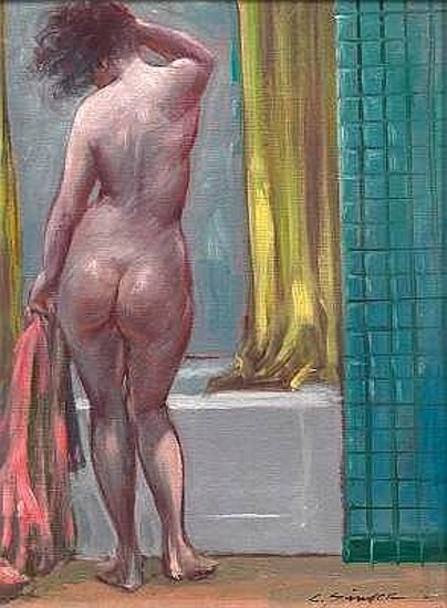 Bather With Pink Towel