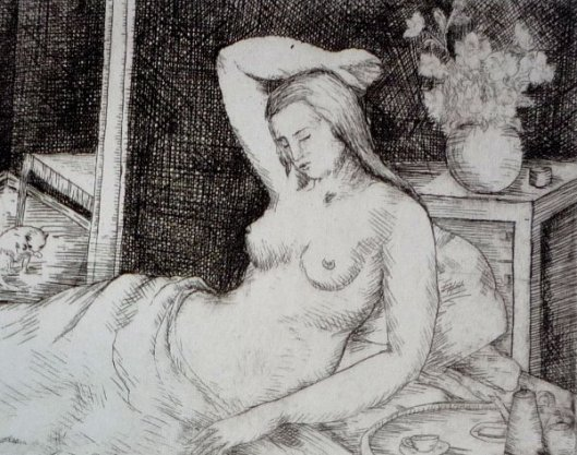 Female Nude Reverie And Cat
