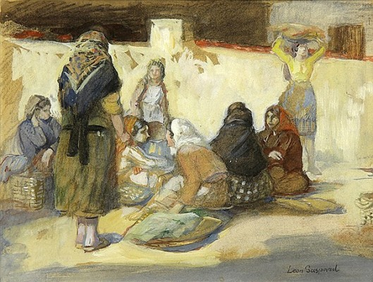 Figures At The Market - Village Women At A Market Square
